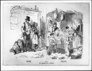 In the 19th century, British people were encouraged to emigrate in order to escape poverty (Source: Punch, 1848)